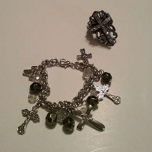 Jewelry - Women's Cross Stretch Bling Ring & Cross Bracelet